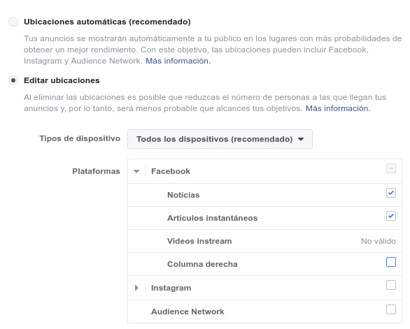 Facebook Ads Manager ubicaciones