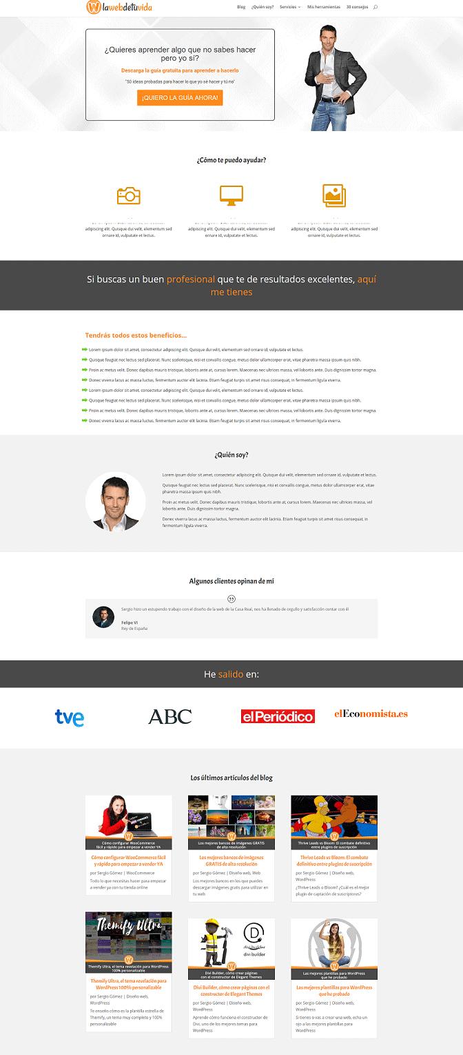 pagina hecha con herramientas de diseño web
