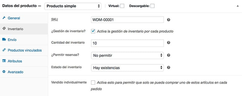 Crear producto simple en WooCommerce