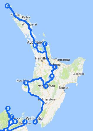 Nueva Zelanda itinerario