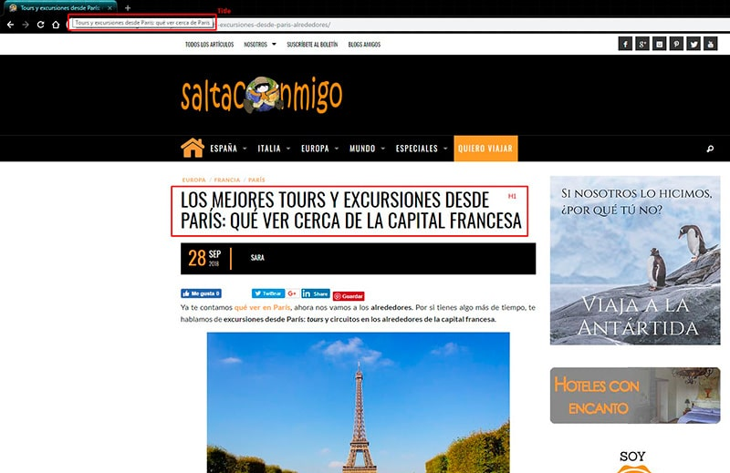 H1 y title al hacer marketing turístico