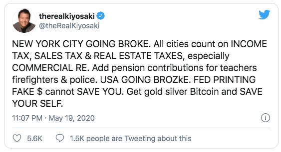 Robert Kiyosaki anima a invertir en criptos como valor refugio