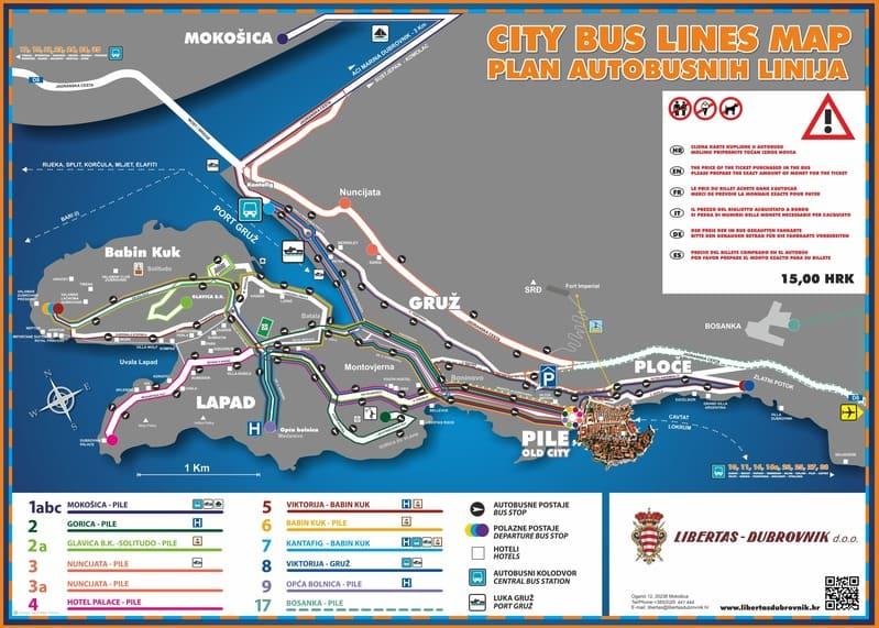 Este mapa con las líneas de autobús de Dubrovnik te será de ayuda en tus viajes